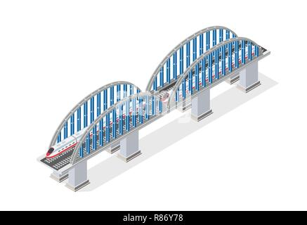 Railroad isometric bridge with railway and high-speed train by locomotive. Elements of urban transport transportation infrastructure - Stock Photo