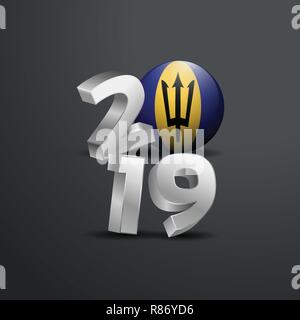 2019 Grey Typography with Barbados Flag. Happy New Year Lettering - Stock Photo
