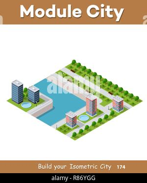 Isometric vector illustration of a modern city with a marina and river embankment. Dimensions of skyscrapers, houses, buildings and urban areas with t - Stock Photo
