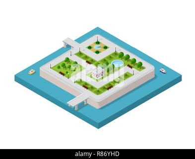 Isometric vector illustration of a modern city with a marina and river embankment. Water park on the island - Stock Photo