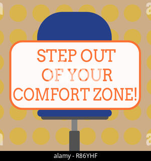 Word writing text Step Out Of Your Comfort Zone. Business concept for Do different things leave the routine Blank Rectangular Shape Sticker Sitting Ho