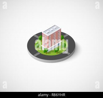 Isometric vector icon illustration of a modern city dimensional views of a skyscrapers - Stock Photo