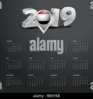 2019 Calendar Template. Grey Typography with Yemen Country Map Golden Typography Header - Stock Photo