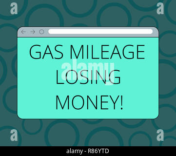 Writing note showing Gas Mileage Losing Money. Business photo showcasing Long road high gas fuel costs financial losses Monitor Screen with Progress C - Stock Photo