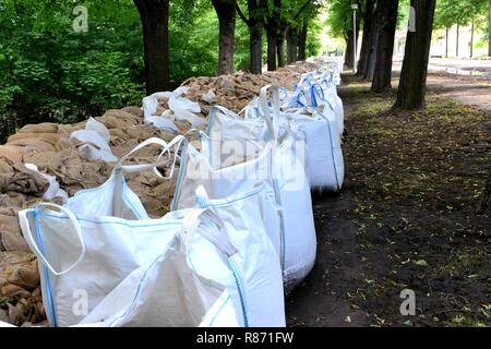 Flood protection in a park during the flood in Magdeburg - Stock Photo