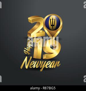 Happy New Year 2019 Golden Typography with Barbados Flag Location Pin. Country Flag  Design - Stock Photo