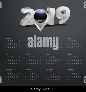 2019 Calendar Template. Grey Typography with Estonia Country Map Golden Typography Header - Stock Photo