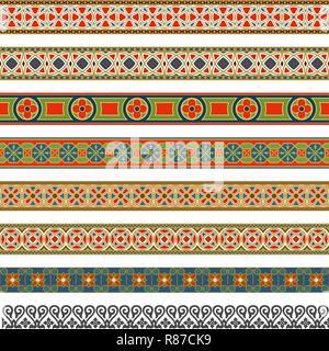 Big set of decorative seamless ornamental border - Stock Photo