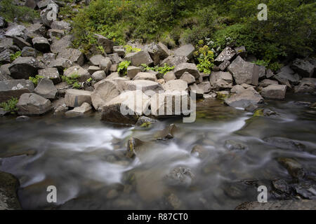 Flowing river, near Svartifoss Waterfall, Vatnajokull National Park, Iceland - Stock Photo
