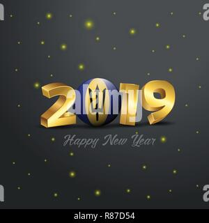 2019 Happy New Year Barbados Flag Typography. Abstract Celebration background - Stock Photo