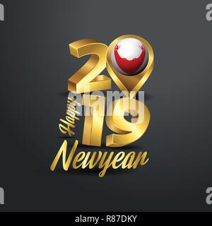 Happy New Year 2019 Golden Typography with Easter Island Rapa Nui Flag Location Pin. Country Flag  Design - Stock Photo