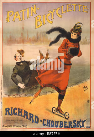 Poster Advertising Patin Bicyclette Road Skates invented by Charles Choubersky, 'Patin-Bicyclette, Richard-Choubersky', 1896 - Stock Photo
