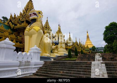 View of the big Shwedagon Pagoda in Yangon, Myanmar. - Stock Photo