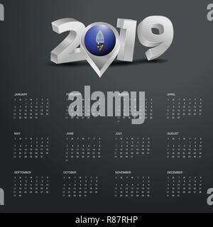 2019 Calendar Template. Grey Typography with Guam Country Map Golden Typography Header - Stock Photo