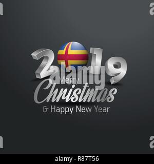 Aland Flag 2019 Merry Christmas Typography. New Year Abstract Celebration background - Stock Photo
