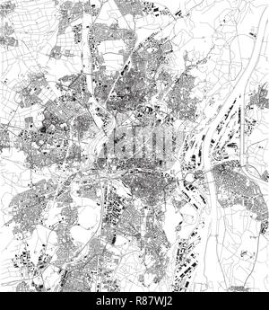 Satellite map of Strasbourg, France, city streets. Street map and ...