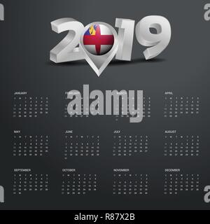 2019 Calendar Template. Grey Typography with Herm Country Map Golden Typography Header - Stock Photo