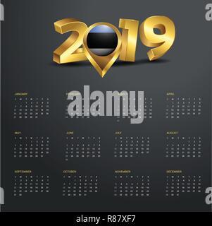 2019 Calendar Template. Estonia Country Map Golden Typography Header - Stock Photo