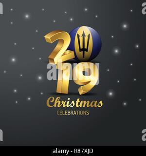 Barbados Flag 2019 Merry Christmas Typography. New Year Abstract Celebration background - Stock Photo