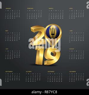 2019 Calendar Template. Golden Typography with Barbados Country Map Golden Typography Header - Stock Photo