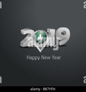 Happy New Year 2019 Grey Typography with Macau Flag Location Pin. Country Flag  Design - Stock Photo