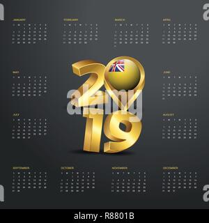 2019 Calendar Template. Golden Typography with Niue Country Map Golden Typography Header - Stock Photo