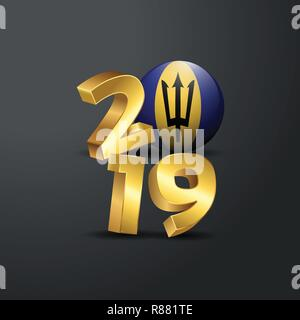 2019 Golden Typography with Barbados Flag. Happy New Year Lettering - Stock Photo