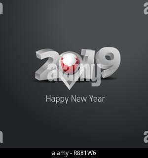 Happy New Year 2019 Grey Typography with Easter Island Rapa Nui Flag Location Pin. Country Flag  Design - Stock Photo