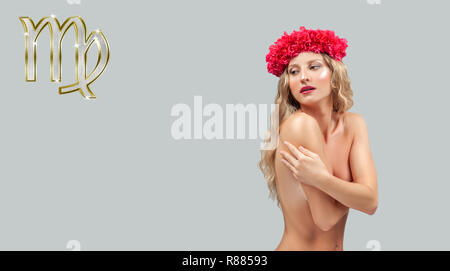 Virgo Zodiac Sign. Astrology and horoscope concept, Beautiful woman with curly hair and wreath of flowers. - Stock Photo
