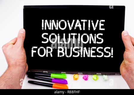 Handwriting text writing Innovative Solutions For Business. Concept meaning Modern ideas applied to companies - Stock Photo
