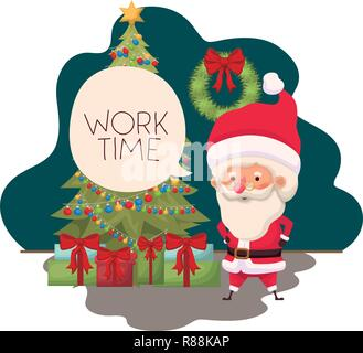 santa claus with christmas tree and gifts - Stock Photo