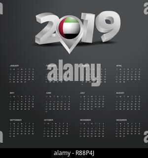 2019 Calendar Template. Grey Typography with UAE Country Map Golden Typography Header - Stock Photo