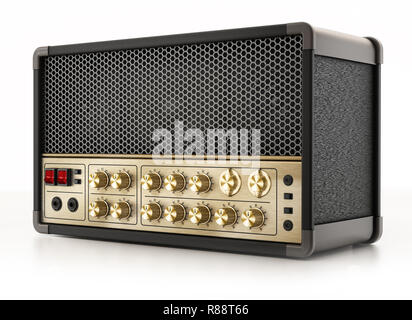 Generic guitar amplifier isolated on white background. 3D illustration. - Stock Photo