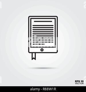 e-book reader line icon vector illustration. Media and entertainment symbol. - Stock Photo