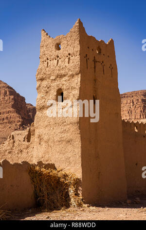 Morocco, Ziz River Gorge, Guers Tiallaline, ancient Kasbah tower remains - Stock Photo