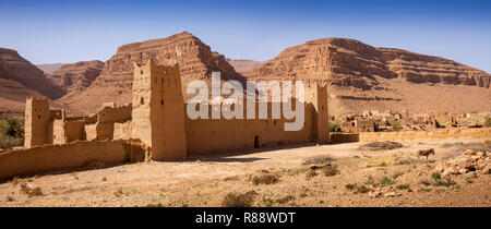 Morocco, Ziz River Gorge, Guers Tiallaline, ancient Kasbah remains, panoramic - Stock Photo