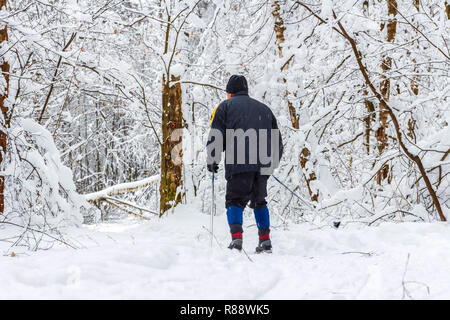 Elderly man skis in the snow-covered forest. Healthy lifestyle - Stock Photo