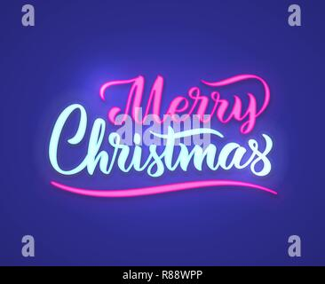 Merry Christmas hand lettering with neon effect. Vector illustration. Can be used for holidays festive design. - Stock Photo