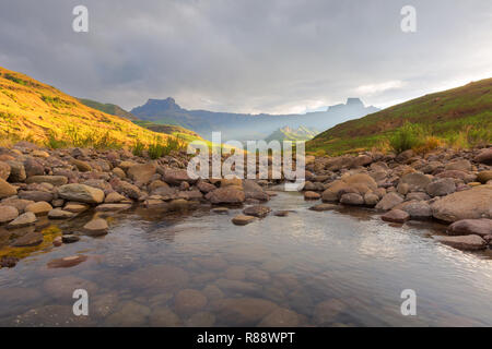 Last light on Tugela River - Stock Photo