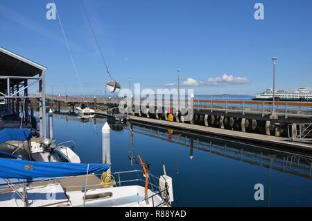 Waterfront of Edmonds in Washington state, view towards the pier and marina, ferry, state ferry system, Seattle Metropolitan area, September - Stock Photo