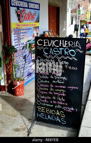 Cevicheria- Restaurant  in YUNGAY-  Department of Ancash.PERU                     - Stock Photo