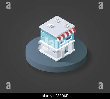 Isometric 3D icon shop market city infrastructure, urban buildings and construction - Stock Photo