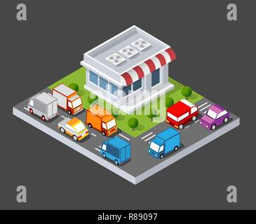 Isometric 3D shop market city infrastructure, urban buildings and construction - Stock Photo