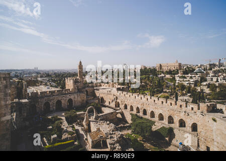 Panoramic view of David's tower at spring time in old city of Jerusalem, Israel. tower of David on the South wall of Jerusalem - Stock Photo