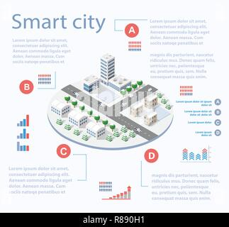Smart city isometric infographics with skyscrapers, buildings and roads. Concept of urban development and statistics in graphic illustrations - Stock Photo