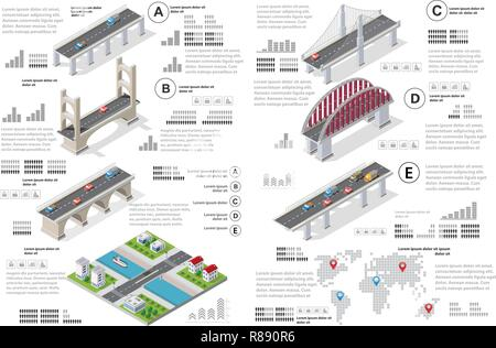 Infographics of bridges in the field of industrial construction and heavy industry. Template for presentation and design - Stock Photo