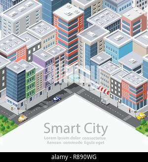 Smart city isometric urban conceptual city illustration, houses, streets and buildings - Stock Photo