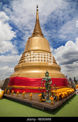 Golden Chedi of Wat Saket in Bangkok, Thailand. - Stock Photo