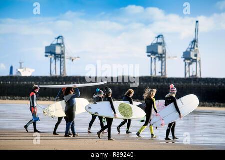 The women's surf community 'Surf Senioritas', members at Aberavon Beach near Port Talbot, S. Wales UK - Stock Photo