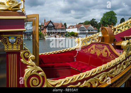 The Royal Barge Gloriana moored at Henley Royal Regatta, Henley-on-Thames, Oxfordshire - Stock Photo
